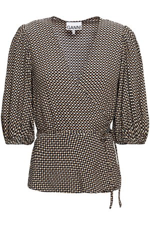 GANNI Woman Checked Crepe Wrap Top Sand Size 34