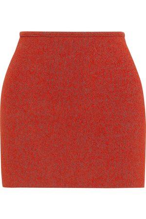 YEEZY Woman Akira Bouclé-knit Mini Skirt Brick Size L
