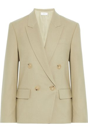 VINCE. Woman Double-breasted Twill Blazer Sage Size 2