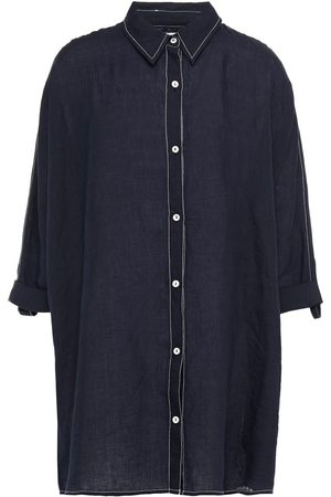 Seafolly Woman Linen Shirt Navy Size L