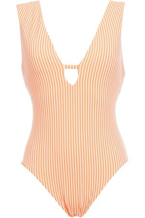 SEAFOLLY Woman Go Overboard Cutout Ribbed Striped Swimsuit Size 10