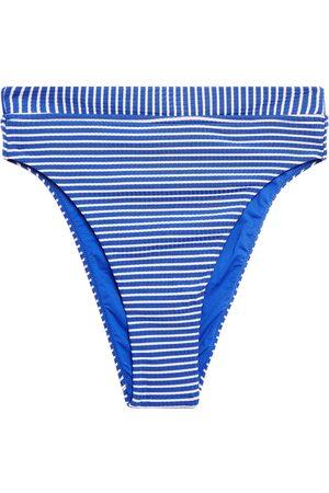 SEAFOLLY Woman Striped Ribbed High-rise Bikini Briefs Cobalt Size 10