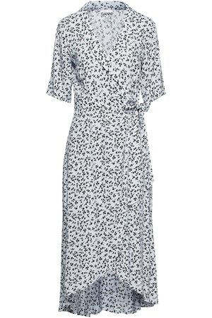 Ganni Woman Printed Crepe De Chine Midi Wrap Dress Sky Size 32