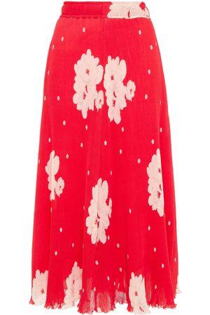 GANNI Woman Floral-print Plissé-georgette Midi Skirt Tomato Size 34