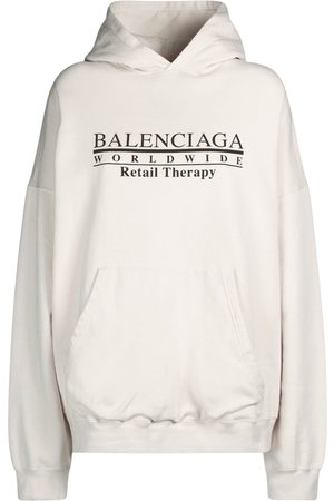 BALENCIAGA Wide Fit Printed Cotton Jersey Hoodie