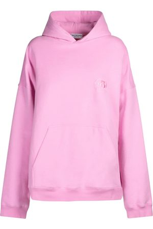 BALENCIAGA Wide Fit Embroidered Logo Cotton Hoodie
