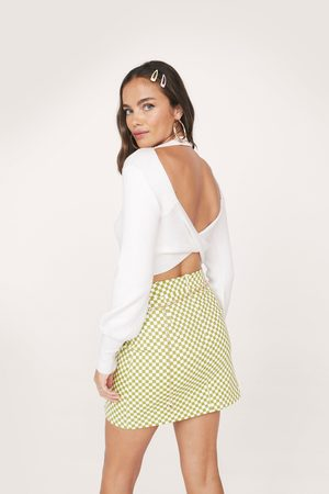 Nasty Gal Womens Ribbed Crossover Open Back Knit Top