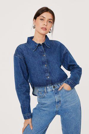 Nasty Gal Womens Cropped Boxy Denim Button Down Shirt