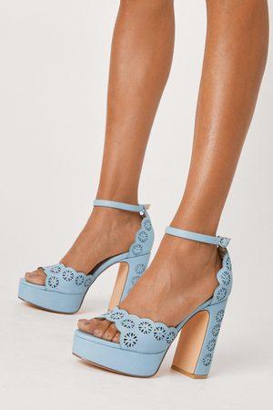 Nasty Gal Women Platforms - Womens Faux Leather Laser Cut Platform Heels