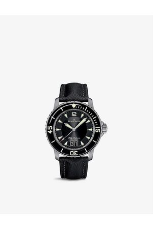 Blancpain 5050 12B30 B52A Fifty Fathoms stainless-steel and canvas automatic watch