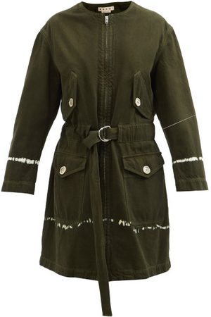 Marni Tie-dyed Belted Denim Coat - Womens
