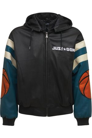 JUST DON Men Leather Jackets - Basketball Leather Jckt W/removable Hood