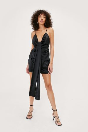 NASTY GAL Women Bodycon Dresses - Womens Drape Front Satin Mini Dress