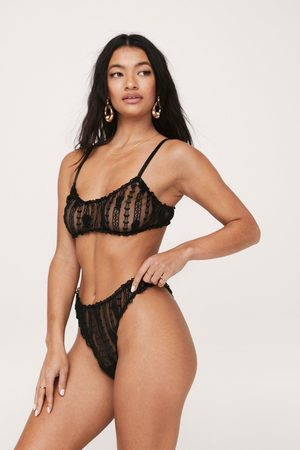 NASTY GAL Womens Embroidered Mesh Ruffle Lingerie Set