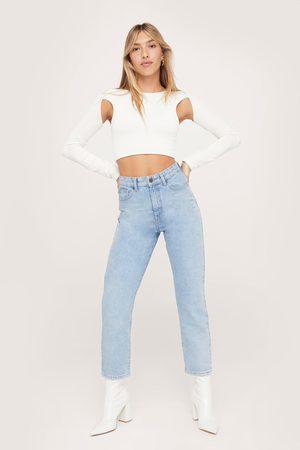 NASTY GAL Womens Organic Denim High Waisted Mom Jeans