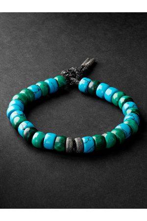 CAROLINA BUCCI Forte Beads White and Blackened Gold, Turquoise and Malachite Bracelet