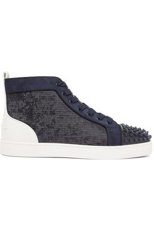 Christian Louboutin Lou Spikes Mesh And Suede High-top Trainers - Mens - Navy