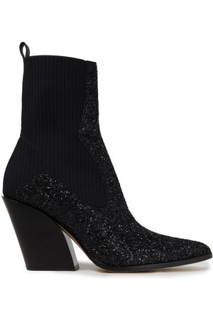 JIMMY CHOO Woman Mele 85 Leather-trimmed Glittered Stretch-knit Ankle Boots Size 36
