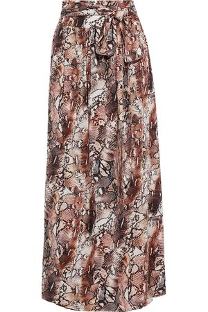 MELISSA ODABASH Woman Elsa Belted Snake-print Voile Maxi Skirt Animal Print Size L