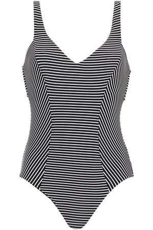 SEAFOLLY Woman Cutout Striped Ribbed Swimsuit Size 10