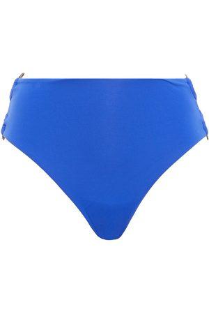 SEAFOLLY Women Briefs - Woman Ring-embellished High-rise Bikini Briefs Cobalt Size 10