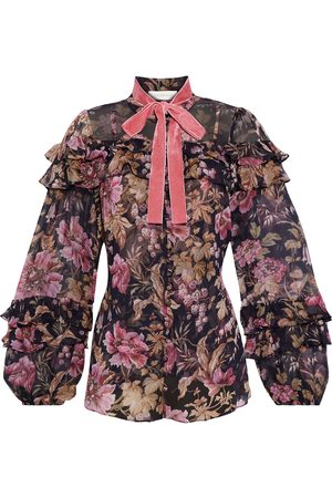ZIMMERMANN Woman Lucky Pussy-bow Ruffled Floral-print Silk-chiffon Blouse Multicolor Size 0