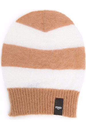 Fendi Stripe pattern beanie hat - Neutrals