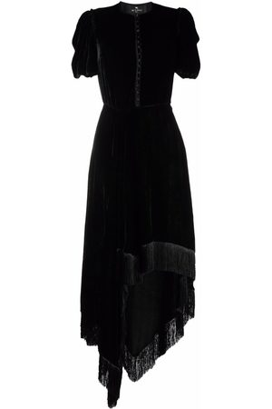 ETRO Fringed-trim velvet asymmetric long dress