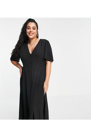 ASOS Curve ASOS DESIGN Curve button through tie back midi tea dress with angel sleeve in