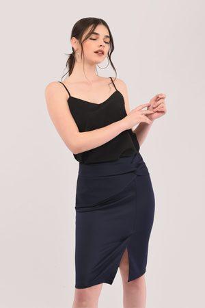 Closet Navy Twist Pencil Skirt