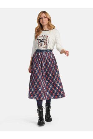 Basler Navy Red and Beige Tartan Pleated Skirt 1211100201 28068 2001