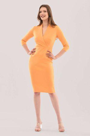 Closet Mustard Wrap Pencil Skirt Dress