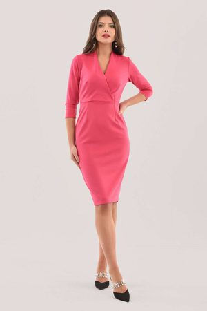 Closet Pink Wrap Pencil Skirt Dress