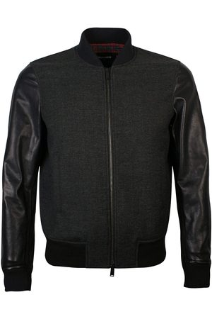 Dsquared2 Charcoal Leather Sleeved Bomber Jacket