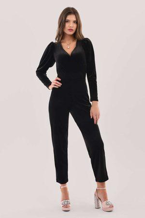 Closet London Pleated Sleeve Velour Jumpsuit