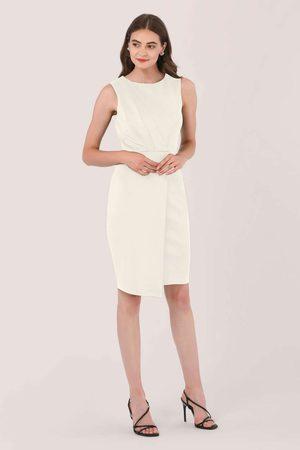 Closet Ivory Draped Sleeveless Wrap Dress