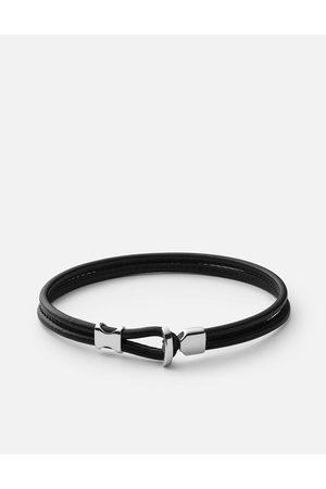 MIANSAI Orson Loop Leather Bracelet - Sterling Silver - Polished Black