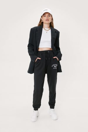 NASTY GAL Womens Active Society Embroidered Relaxed Joggers