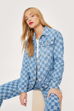 NASTY GAL Womens Petite Checkerboard Relaxed Denim Jacket