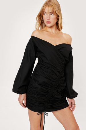 NASTY GAL Womens Petite Off the Shoulder Ruched Front Mini Dress