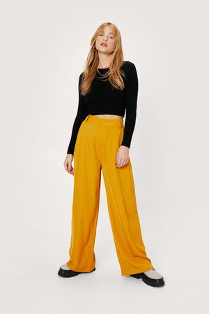 NASTY GAL Women Wide Leg Trousers - Womens Petite Tailored High Waisted Wide Leg trousers