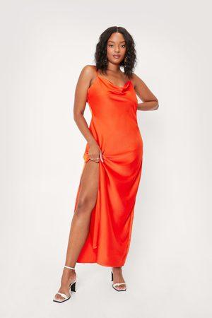 NASTY GAL Women Maxi Dresses - Womens Plus Size Satin Cowl Maxi Dress
