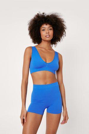 NASTY GAL Womens Recycled Ribbed Seamless Boxer Shorts Set
