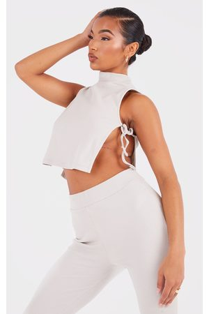 PRETTYLITTLETHING Women Wrap Tops - Ash Soft Rib Cut Out Tie Side Top
