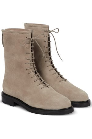 LEGRES Women Lace-up Boots - Lace-up suede ankle boots