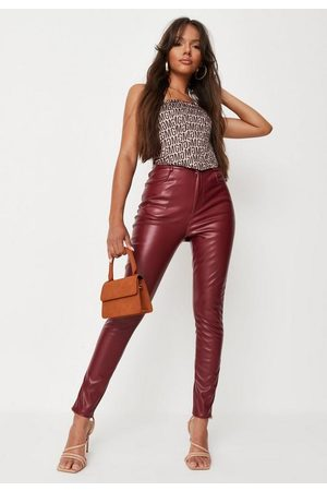 Missguided Burgundy Faux Leather Slim Leg Trousers, Burgundy