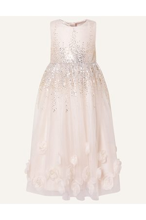 Monsoon (pale ) 3D Rose Sequin Maxi Dress , Embellished, in Size: 3 Years