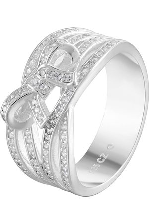 The Love Silver Collection Sterling Multi Row Cubic Zirconia Bow Ring