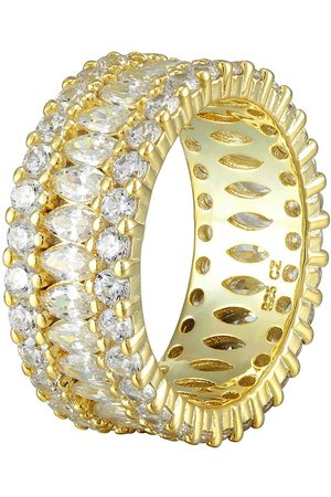 The Love Silver Collection 18Ct Gold Plated Sterling Black & White Cubic Zirconia Eternity Ring
