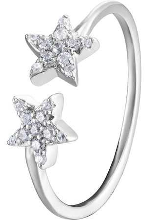 The Love Silver Collection Sterling Double Star Cubic Zirconia Ring
